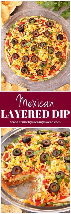 Mexican Layered Dip Recipe - quick and easy dip with layers of beans, guacamole, seasoned sour cream, salsa and cheese. Perfect for parties!