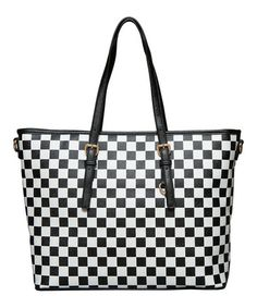 Look at this #zulilyfind! Black & White Checkerboard Off the Wall Tote by Elise Hope #zulilyfinds
