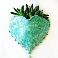 Hanging Planter - Ceramic Wall Pocket - Heart Planter - Heart Wall Pocket - Ceramic Planter - Planter for Air Plant Succulent - Plant Vase
