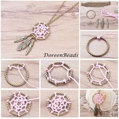 Beads, Jewelry Making Supplies, Art and Crafts SuppliesHow to make a dream catcher Homemade Dream Catchers, Making Dream Catchers, Dream Catcher Craft, Diy Tumblr, Bracelet Crafts, Jewelry Crafts, Handmade Jewelry, Diy Dream Catcher Tutorial, Tree Of Life Earrings