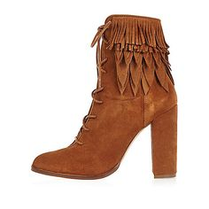 Tan suede lace-up fringed heeled boots - ankle boots - shoes / boots - women