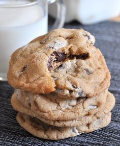 Really Good Chocolate Chip Cookies  3 cups all purpose flour  1 tsp baking powder  1 tsp baking soda  1 1/4 tsp salt  1 cup butter, room temperature  1 cup sugar  1 1/2 cups brown sugar  2 large eggs  2 tsp vanilla extract  16-oz chocolate chips