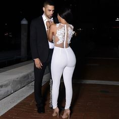 As the bride to be, this would be the perfect look for a engagement party, bridal shower or bachelorette (including the getaway) party. All White Outfit, White Outfits, Sexy Outfits, Dress Outfits, Fashion Dresses, Chic Couture Online, Look Fashion, Womens Fashion, Couple Outfits