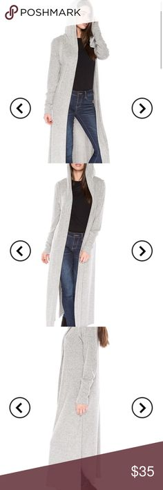 """🆕 Extra Soft Grey Hooded Duster Cardigan Heather Grey Maxi cardigan. All sizes measure 49"""" in length. Sweaters Cardigans"""