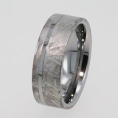 Meteorite Ring Tungsten Wedding Band inlaid with solid Gibeon Meteorite - 8mm by  Johan Rust  http://www.etsy.com/shop/jewelrybyjohan