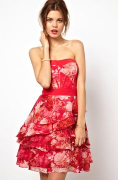 Red Strapless Floral Asymmetrical Ruffles Bandeau Dress