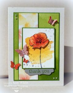 White House Stamping  stamp flowre on watercolor paper color with tangerine tango. Ink crushed curry daffodil delight tangerine tango gumball green stazon Paper watercolor wonder note cards and dsp gum ball green tangerine tango smoky slate whisper white naturals ivory vellum watercolor paper