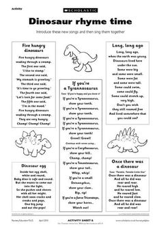 58 new Ideas for music theme preschool crafts teaching Dinosaur Rhymes, Dinosaur Theme Preschool, Dinosaur Activities, Preschool Songs, Preschool Themes, Preschool Lessons, Preschool Classroom, Kids Songs, In Kindergarten
