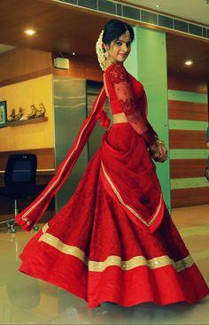 Cotton Lehenga, Half Saree Lehenga, Bridal Lehenga, Anarkali, Kerala Engagement Dress, Engagement Saree, Engagement Dresses, Half Saree Designs, Lehenga Designs