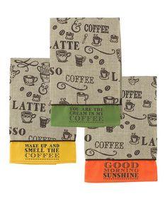 Loving this 'Coffee' Hand Towel Set on #zulily! #zulilyfinds