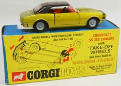 Corgi Toys Chevrolet Camaro SS350 with Take-Off Wheels & Golden Jacks
