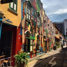 Painted shophouses @ Bali lane, Arab street, little India, Chinatown, etc Haji Lane Singapore, Singapore Malaysia, Singapore Travel, Travel Around The World, Around The Worlds, Singapore Architecture, Colourful Buildings, Amazing Street Art, City Aesthetic