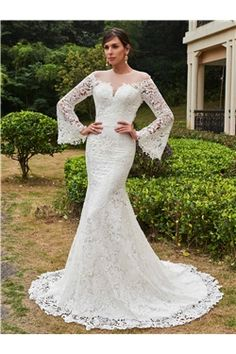 All-Season Garden.W Long Sleeves Floor-Length Garden/Outdoor Fall Church Summer Wedding Dress