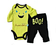 New to ChewOnThisOrThat on Etsy: My First Halloween Embroidered Little Monster Custume Onesie and Pant Set - Personalized Baby Name Bodysuit Top Outfit (15.00 USD)