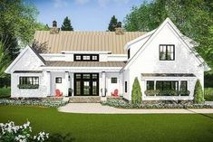 Love this Modern Farmhouse with Vaulted Master Suite - 14661RK | Architectural Designs - House Plans #modernarchitecture