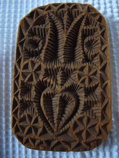 RARE Heart Tulip Carved Wooden Antique Folk Art 19th C Butter Print AAFA | eBay