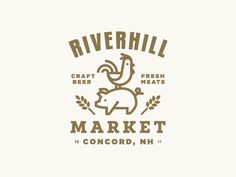 Market Logo by spoonlancer - Farmer's Market Logo - Brown - Chicken & Pig Logo - Farm Logo - Minimalist Mark - Riverhill Market Logo Branding, Typo Logo, Corporate Branding, Personal Branding, Logo Inspiration, Brand Identity Design, Branding Design, Packaging Design, Farmers Market Logo