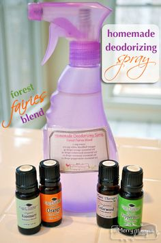 {DIY} ~ Homemade Deodorizing Spray – Non-Toxic & Green Ingredients ½ cup white distilled vinegar 1 cup water 40 drops orange essential oil 20 drops cedarwood oil 10 drops peppermint oil 5 drops rosemary oil Homemade Cleaning Products, Cleaning Recipes, Natural Cleaning Products, Cleaning Hacks, Cleaning Supplies, Household Products, Household Chores, Diy Products, Household Cleaners
