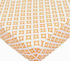 Geometric Percale Crib Sheet Orange by ShopPetunias on Etsy