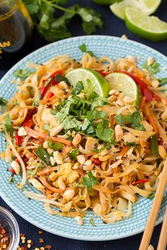 "Chicken Pad Thai - This yummy recipe will leave you craving more. The key to perfect Pad Thai is in the cooking (or ""not"" cooking) of the noodles - learn how to get them chewy-perfect with this recipe. Wok Recipes, Asian Recipes, Chicken Recipes, Dinner Recipes, Cooking Recipes, Healthy Recipes, Recipe Chicken, Lunch Recipes, Vegetarian Recipes"