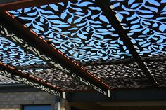 This is a close up shot of laser cut screens used for the pergola roofing. Filtration of light and shade is stunning. #lasercutscreens #natural screens #pergolaroofing #BeMetalBe