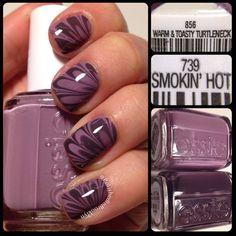 lovely purple watermarble using Essie Warm & Toasty Turtleneck plus Smokin' Hot by polishedinbrooklyn #try #fav