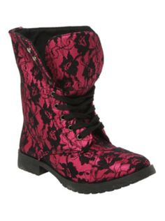 Millie Lace Fuchsia Boot - why hello there... they'd look super cute with a black dress and a leather jacket.