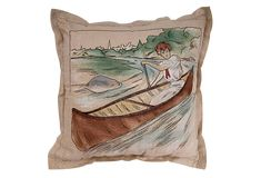 Circa hand painted and embroidered victorian lady in canoe pillow. Fabric Painting, Rustic Furniture, Canoe, Vintage Ladies, Vintage Items, Victorian, Hand Painted, Throw Pillows, River