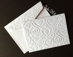 Hearts Embossed Cards  Set of 4 white A2 embossed by StudioIdea