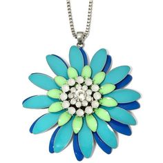 Mixit Silver-Tone and Blue Metal Flower Necklace ($13) ❤ liked on Polyvore featuring jewelry, necklaces, silvertone necklace, flower jewelry, silver tone jewelry, long chain necklace and blue necklace