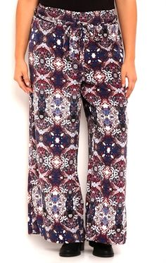 c97cee20902 Plus Size Distressed Paisley Print Palazzo Pants with Tie Front