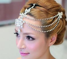 Clear crystal dangle forehead headband tiara crown bridal pageant prom headpieces wedding teardrop