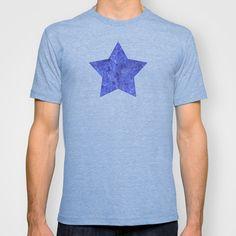"""Blue night arabesques"" T-shirt by Savousepate - $22.00 #tshirt #teeshirt #star #blue #nightblue #scrolls #pattern #doodles"
