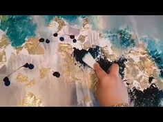 Part 2: Abstract canvas painting using gold leaf - YouTube