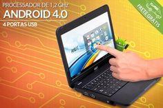 """Netbook Airis 10,1"""" com Android 4.0, tela touch screen, saída míni HDMI e webcam, por apenas R$499,00"""
