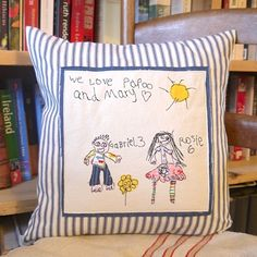 A doodle you can cherish forever. Our very creative Partner Company #DitsyDoodles delicately transfer your childs doodles onto a cushion using applique. A great #keepsake and personalised gift idea for mums & dads or grandparents