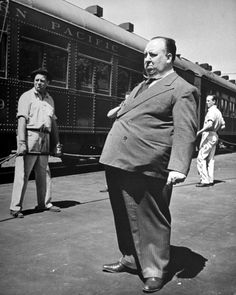 Alfred Hitchcock. 1940s-- Shadow of a Doubt, perhaps?