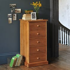 Appleby Oak 5 Drawer Narrow Chest - The Cotswold Company