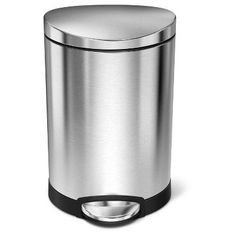 Simplehuman studio 6 Liter Semi-Round Step Trash Can, Brushed Stainless Steel, Silver