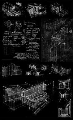 J'adore cette image Blanc sur noir Effet sketch Notes / Croquis / Traits de crayons / Plans Toutes les informations importantes d'un projet de design sont présentes