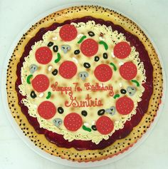 Enjoy a yummy birthday pizza cake with your name on it. Now you can wish birthday online with names. Best Birthday Cake Designs, Unique Birthday Cakes, Happy Birthday Cakes, Birthday Ideas, Birthday Parties, Pizza Birthday Cake, Pizza Cake, Birthday Cards For Friends, Pizza Shapes