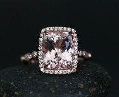 Pink Morganite Wedding Ring Set in 14k Rose by Twoperidotbirds