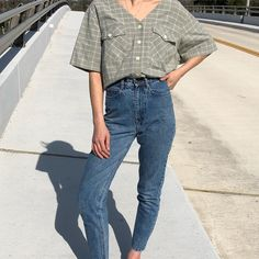 Vintage sage spring plaid cotton blouse with tie back s-xl $38 + shipping
