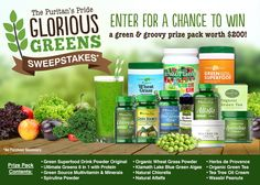 I just entered the Puritan's Pride 'Glorious Greens' Sweepstakes for a chance to win a $200 green & groovy prize pack.  You should too!
