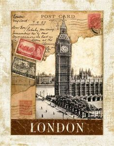 London Postmark Big Ben Clock Tower by TinaChadenDesigns on etsy. Posters Vintage, Retro Poster, Vintage Postcards, Vintage Prints, Vintage Diy, Vintage Paper, Vintage Travel, Vintage Images, London Postcard