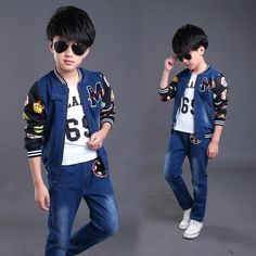 (27.60$)  Watch now - http://aiw1v.worlditems.win/all/product.php?id=32725883333 - Fashion three pieces set shirts pants & jacket jeans for teenagers boutique hot clothing teen fashion clothes
