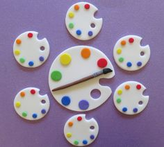 Art Palette paint brush artist Art Party fondant by PartySweetness, $10.00