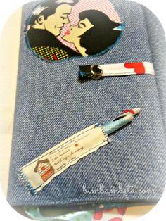 Copri-agenda con taschine e porta-matita