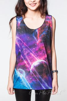 Galaxy Top Nebula Pink Violet Cosmic T Shirt Black by CouPleParel, $16.99