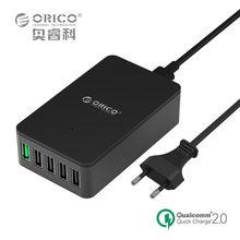 5 Port Quick Charger,ORICO QSE-5U QC2.0 Charger 5V2.4A/9V2A/12V1.5A Desktop USB Charger for Almost Smart Phones EU/US Plug Black